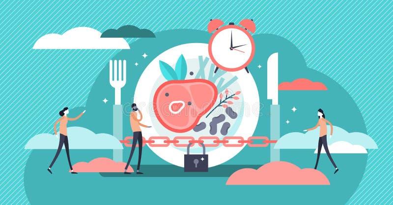 Ilustração de jejum do vetor Conceito minúsculo liso da pessoa do tempo da dieta do metabolismo ilustração do vetor