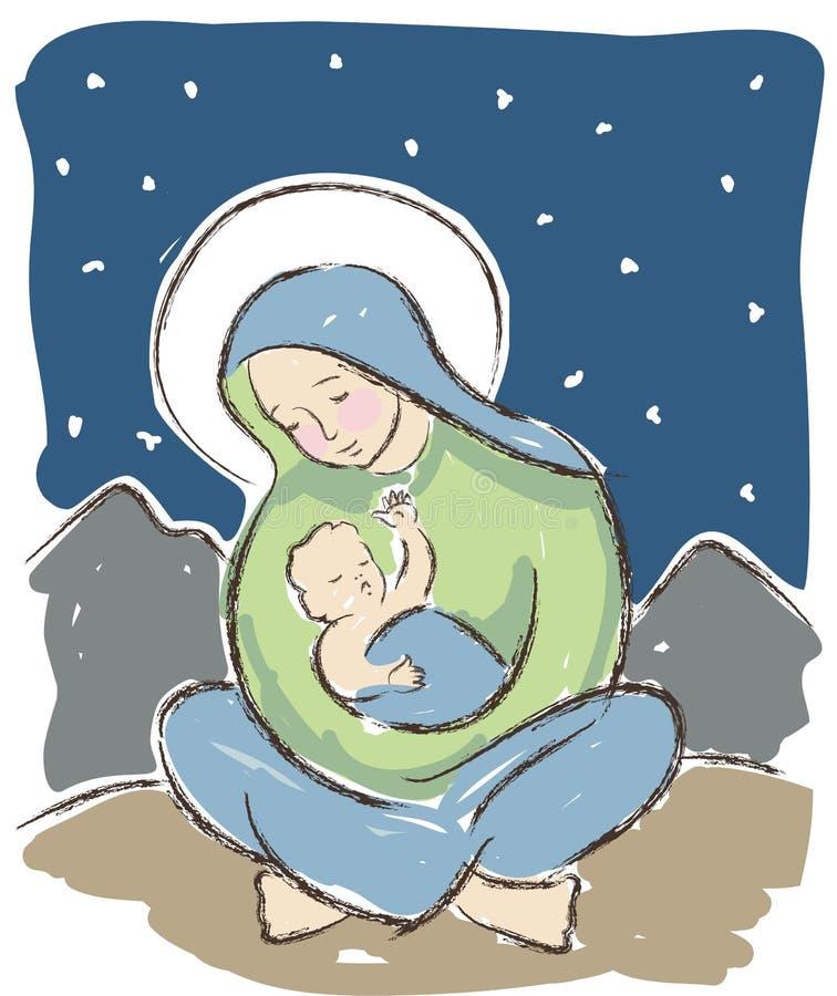 Ilustração de Jesus da Virgem Maria e do bebê ilustração royalty free