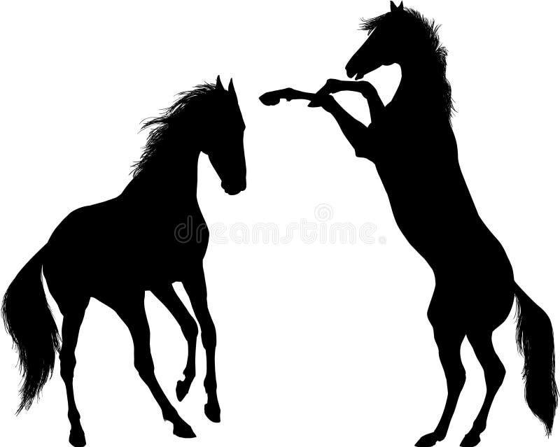 Ilustração de jogo da silhueta do vetor de dois cavalos imagem de stock
