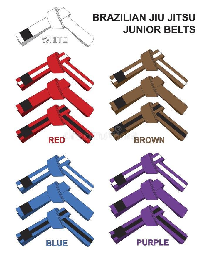 Ilustração de Junior Brazilian Jiu Jitsu Belts ilustração royalty free