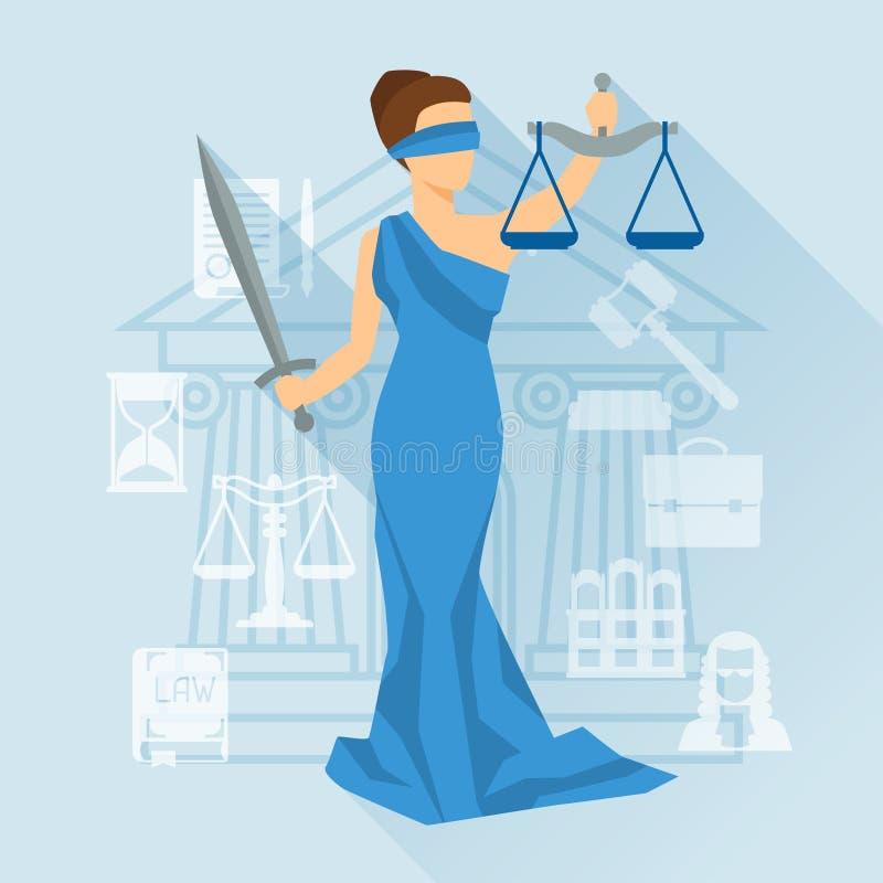 Ilustração de justiça da senhora no estilo liso do projeto ilustração royalty free