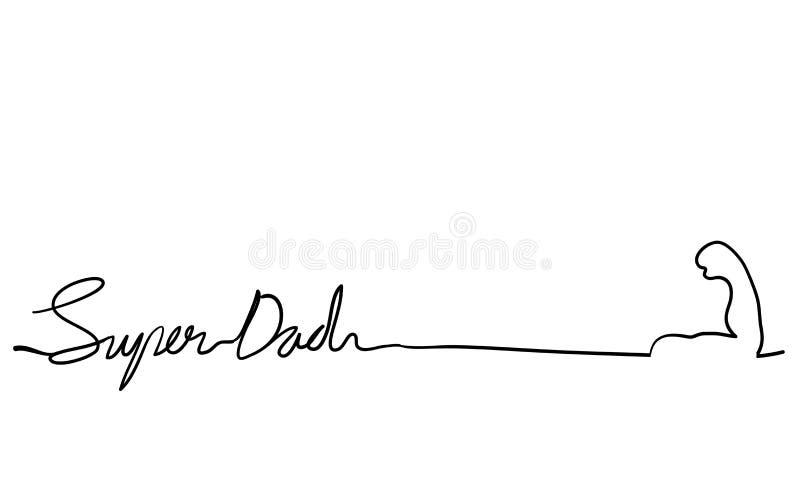 Ilustração de letras manuais do Super dad com um rabisco vetorial de linha contínua ilustração royalty free