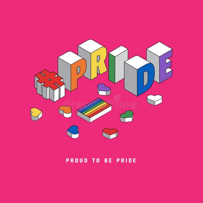 Ilustração de LGBT Pride Month com texto da tipografia na cor do arco-íris Cartaz, cart?o, bandeira e fundo Ponto no estilo cômic ilustração do vetor
