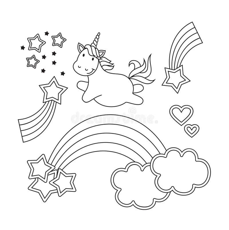 Ilustração de linho do vetor bonito do unicórnio para o livro para colorir Isolado no fundo branco ilustração stock
