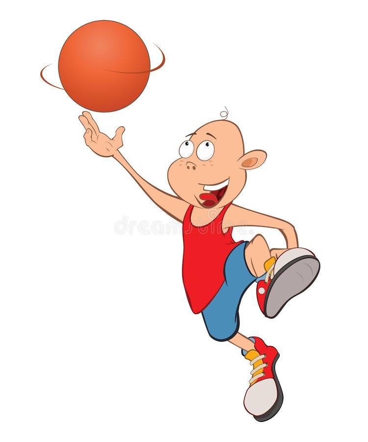 Ilustração de Little Boy bonito Jogador de basquetebol ilustração royalty free