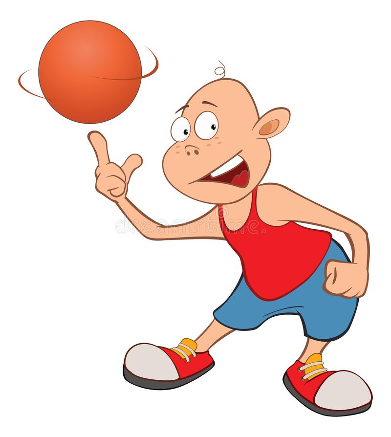 Ilustração de Little Boy bonito Jogador de basquetebol ilustração do vetor