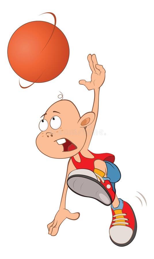 Ilustração de Little Boy bonito Jogador de basquetebol ilustração stock