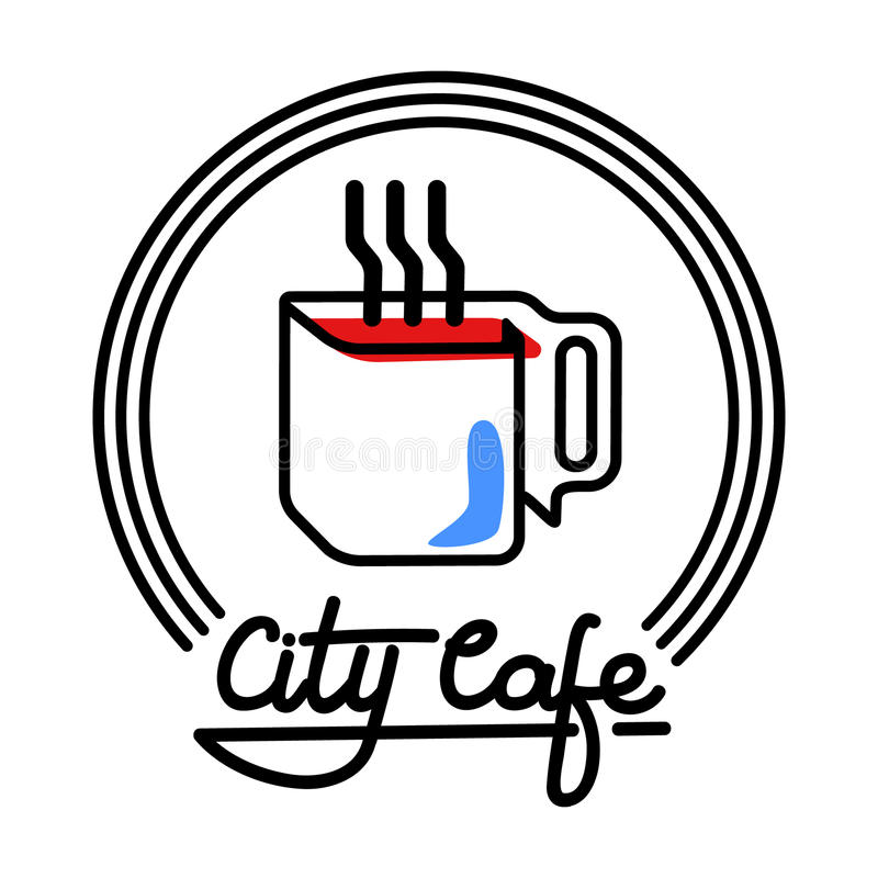 Ilustração de Logo Template Design Vetora do café da cidade ilustração do vetor