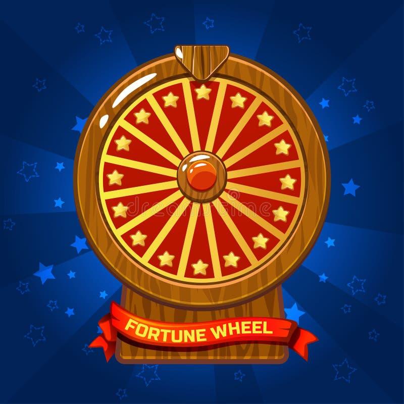 Ilustração de madeira da roda da fortuna para o elemento do jogo de Ui ilustração royalty free
