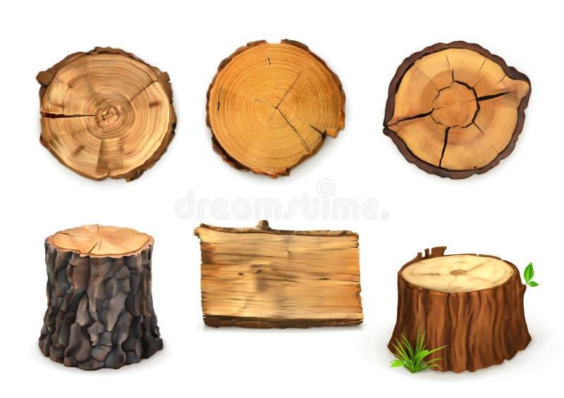 Ilustração de madeira do vetor das bandeiras ilustração stock