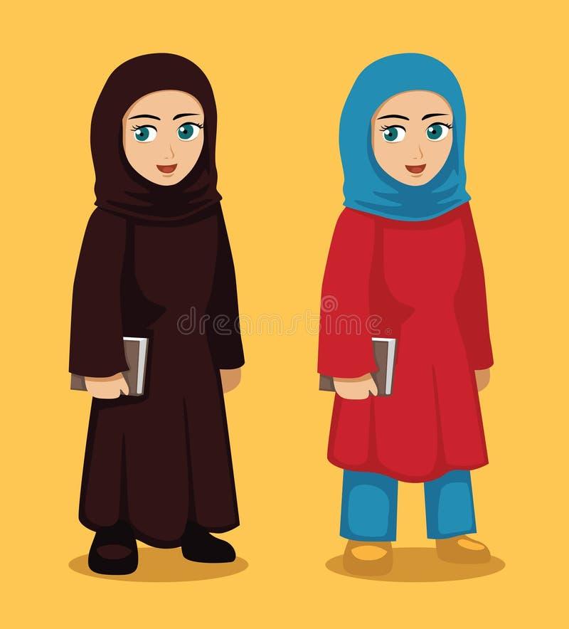 Ilustração de Manga Arab Girl Cartoon Vetora ilustração stock