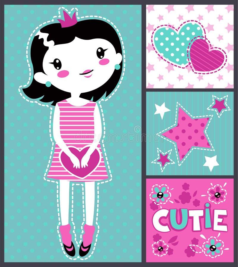 Ilustração de menina bonito ilustração royalty free