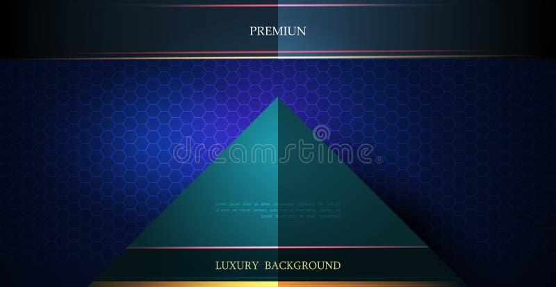 Ilustração de metálico azul e preto abstrato com raio claro e linha lustrosa Projeto do quadro do metal para o fundo ilustração stock