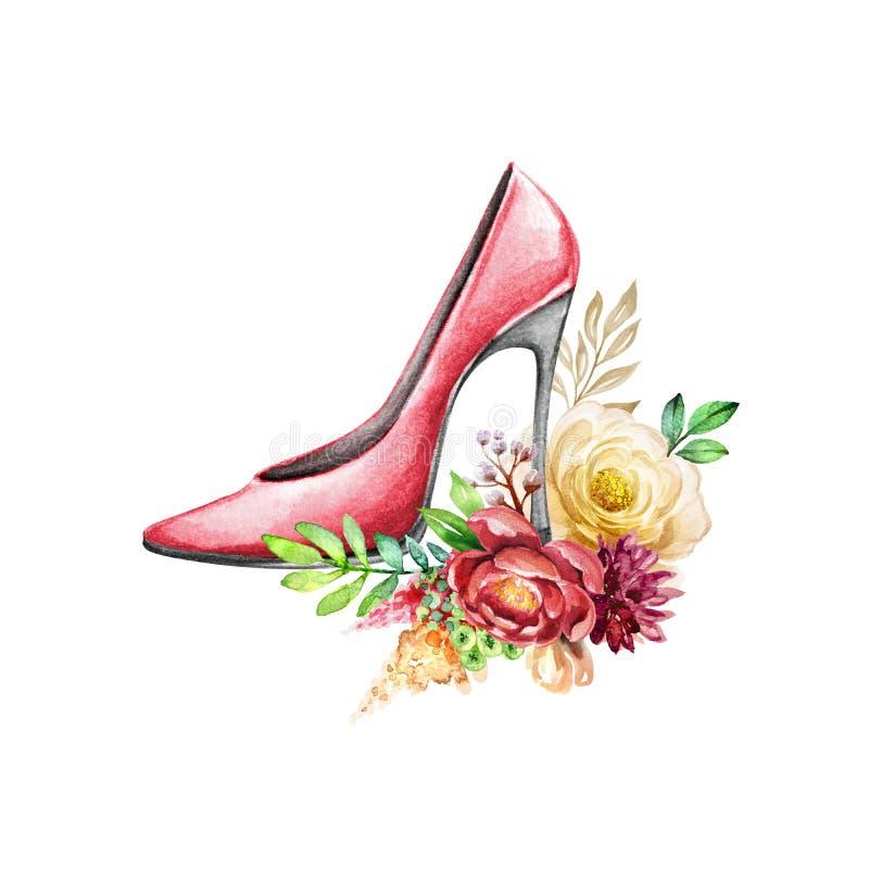 Ilustração de moda de aquarela, sapato vermelho de salto alto com decor botânico, arranjo de estilo boêmio, bouquet de vermelh ilustração stock