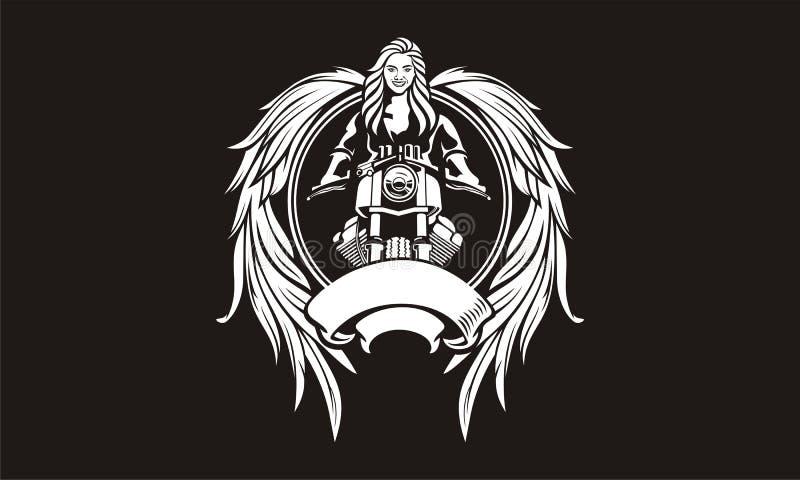 Ilustração de motociclistas fêmeas com deusa das asas imagens de stock royalty free