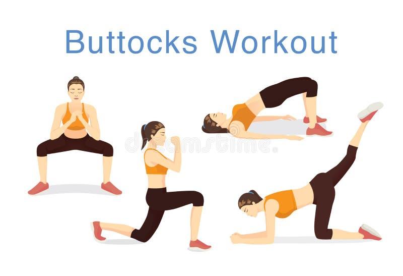 Ilustração de 4 movimentos levantar as nádegas com exercício ilustração do vetor