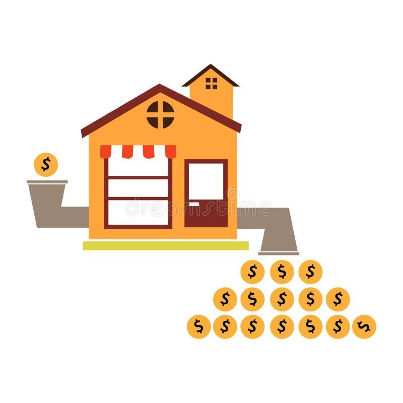Ilustração de multiplicar a renda pela loja de abertura Projeto liso ilustração stock