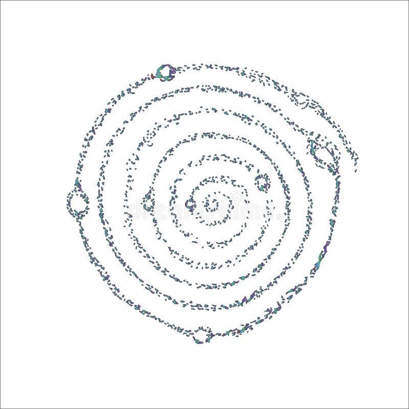 A ilustração de néon da cor da espiral cósmica da galáxia e dos planetas nela é simbólica ilustração royalty free