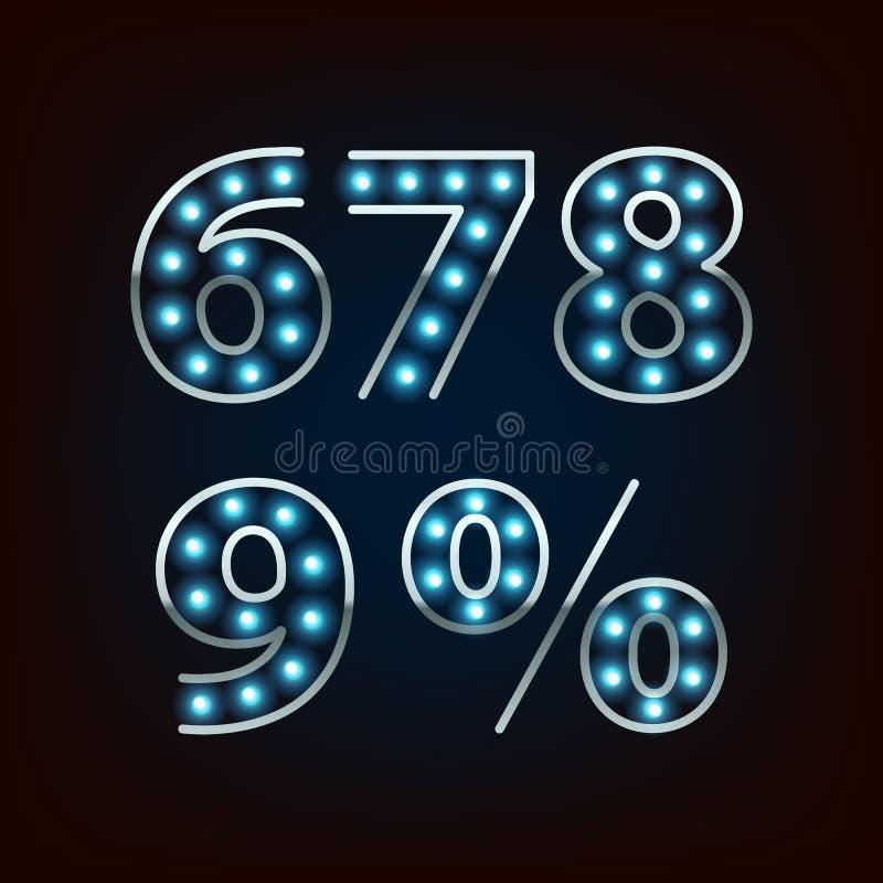 Ilustração de néon do vetor dos dígitos da lâmpada do bulbo ilustração do vetor