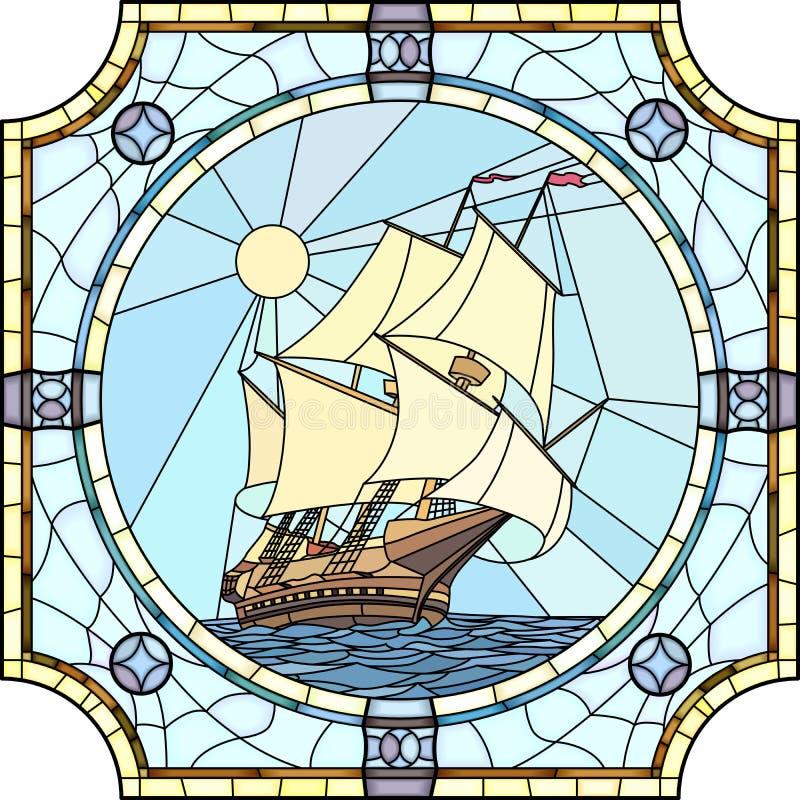 Ilustração de navios de navigação do século XVII. ilustração stock