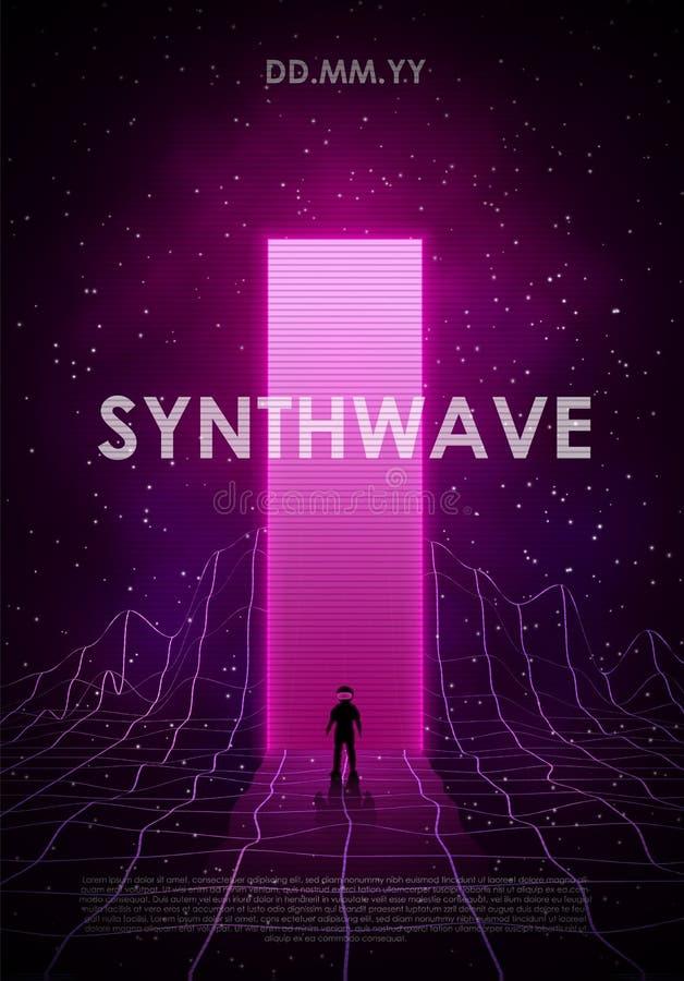 Ilustração de onda sintética retrowave com paisagem em grade de laser no espaço estrelado, através do brilho brilhante ilustração do vetor