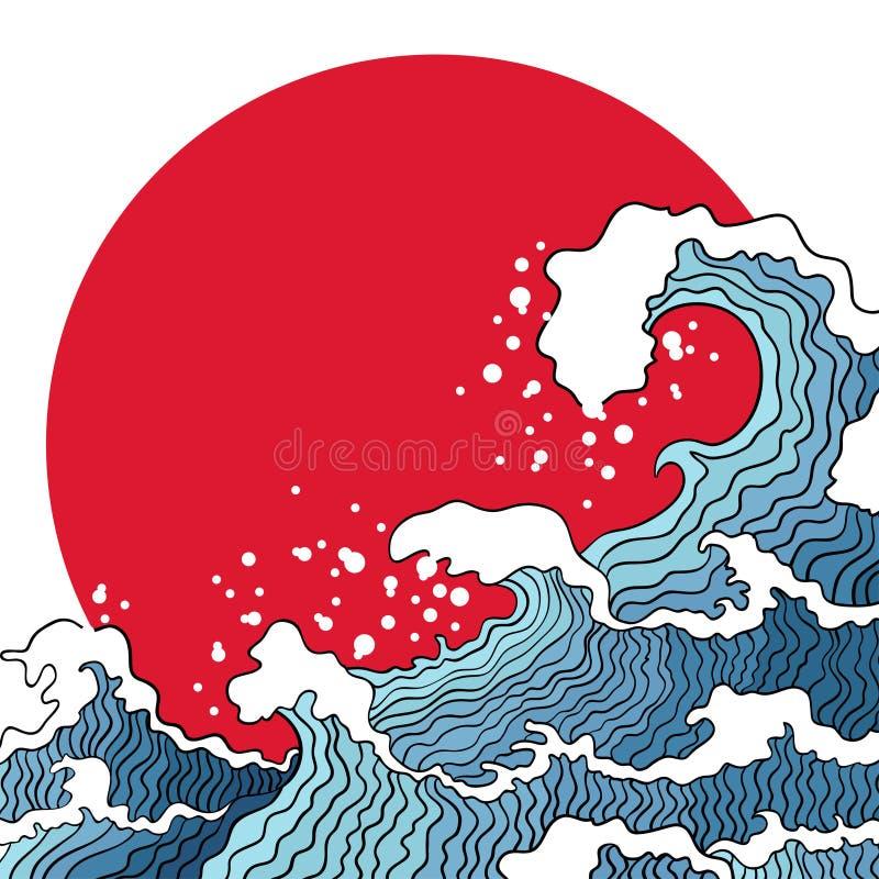Ilustração de ondas e de sol de oceano ilustração royalty free