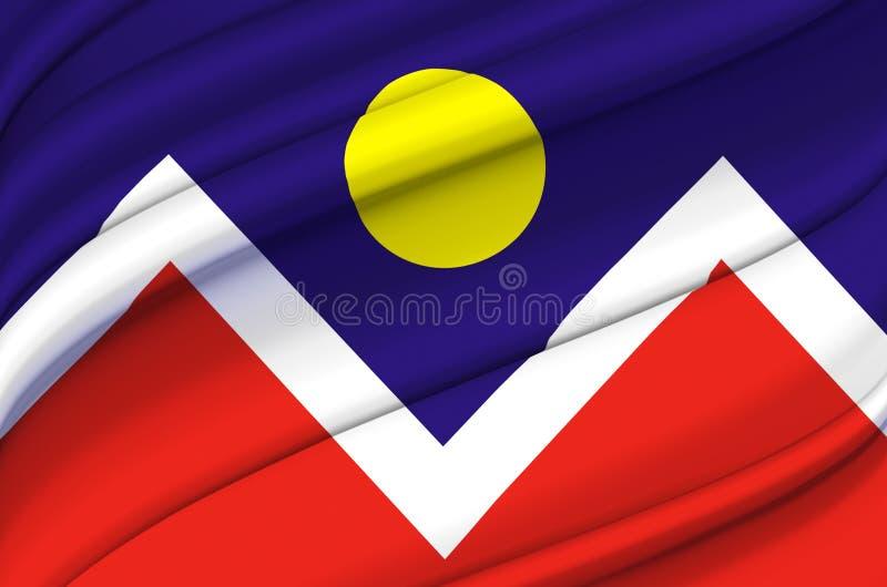 Ilustração de ondulação da bandeira de Denver Colorado ilustração royalty free