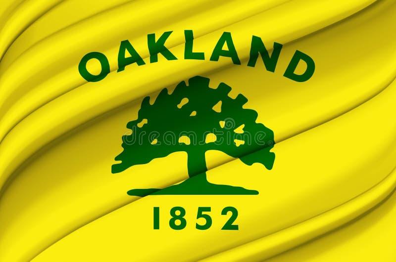 Ilustração de ondulação da bandeira de Oakland Califórnia ilustração stock