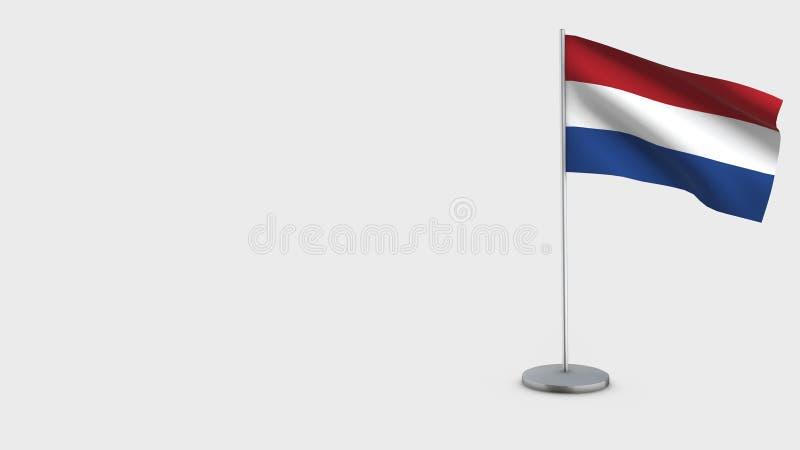 A ilustração de ondulação da bandeira de Países Baixos 3D ilustração do vetor