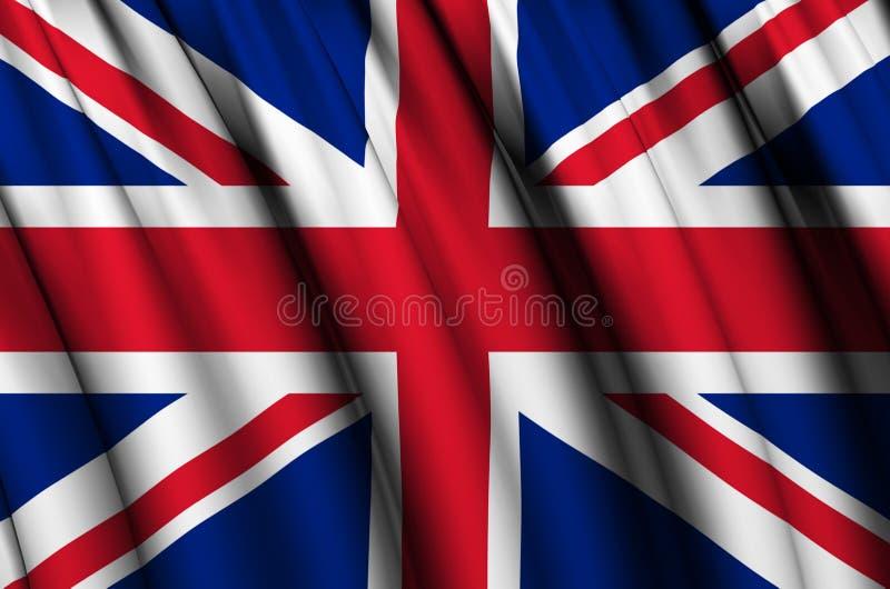 Ilustração de ondulação da bandeira de Reino Unido ilustração royalty free