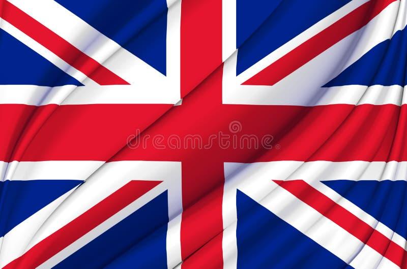 Ilustração de ondulação da bandeira de Reino Unido ilustração stock