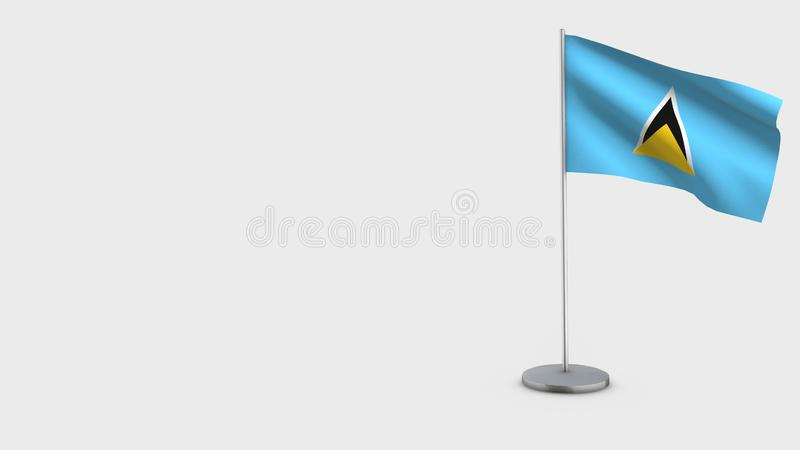 Ilustração de ondulação da bandeira de St Lucia 3D ilustração do vetor