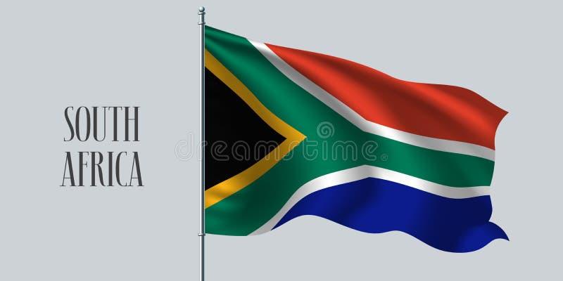 Ilustração de ondulação do vetor da bandeira de África do Sul ilustração stock