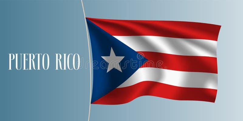 Ilustração de ondulação do vetor da bandeira de Porto Rico ilustração do vetor