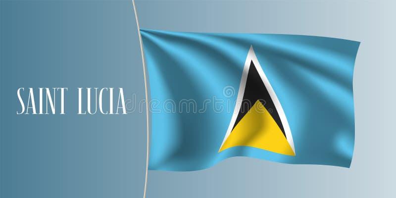 Ilustração de ondulação do vetor da bandeira de St Lucia ilustração royalty free