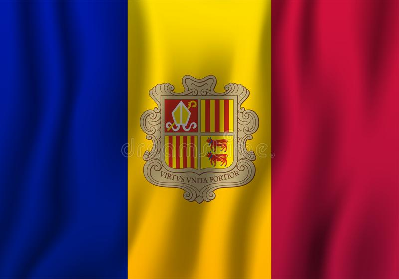 Ilustração de ondulação realística do vetor da bandeira de Andorra Coun nacional ilustração royalty free