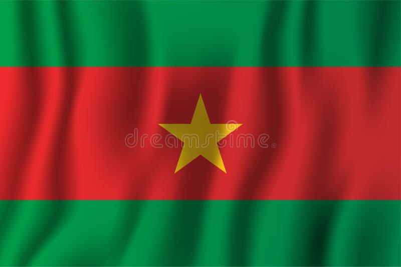 Ilustração de ondulação realística do vetor da bandeira de Burkina Faso naturalizado ilustração stock
