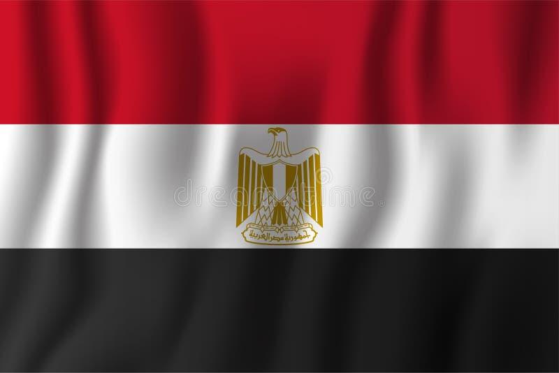 Ilustração de ondulação realística do vetor da bandeira de Egito Countr nacional ilustração stock