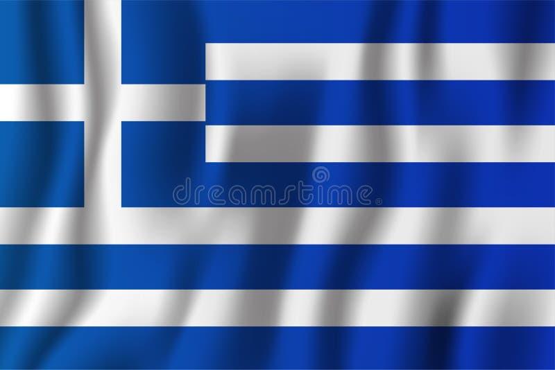 Ilustração de ondulação realística do vetor da bandeira de Grécia Contagem nacional ilustração stock