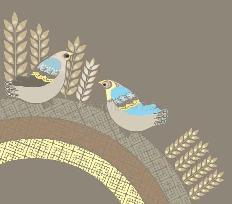 Ilustração de pássaros decorativos ilustração royalty free