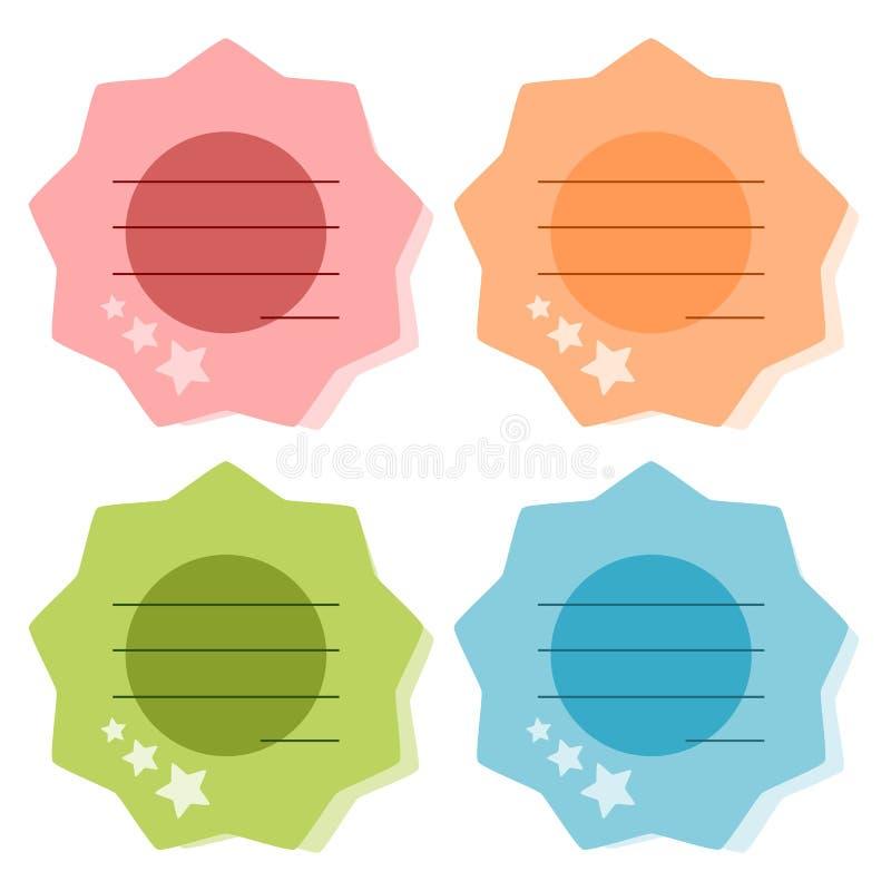 Ilustração de papel colorida da nota ilustração stock