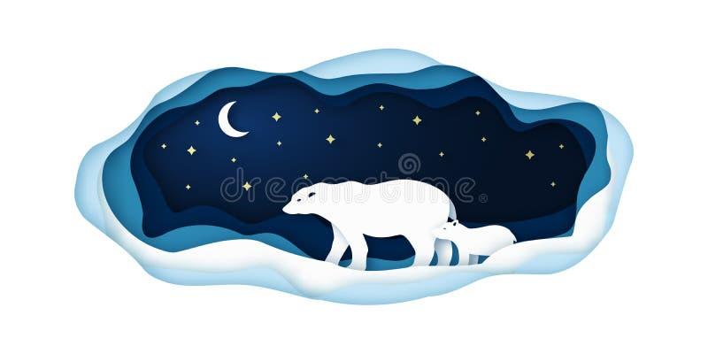 Ilustração de papel com os ursos polares que vão na noite no Polo Norte ilustração royalty free