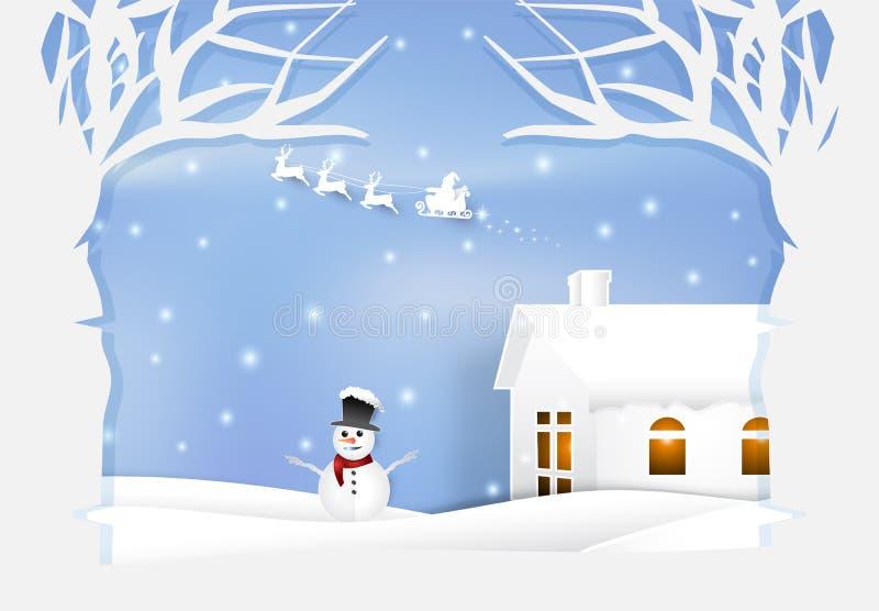Ilustração de papel da arte do feriado de inverno Santa e do boneco de neve Chri ilustração do vetor