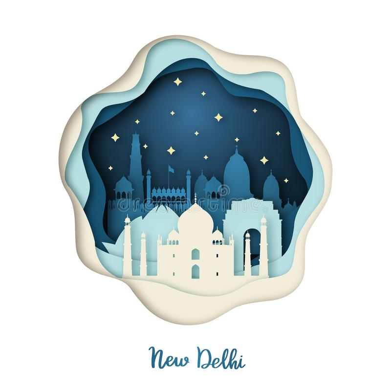 Ilustração de papel da arte de Nova Deli ilustração stock