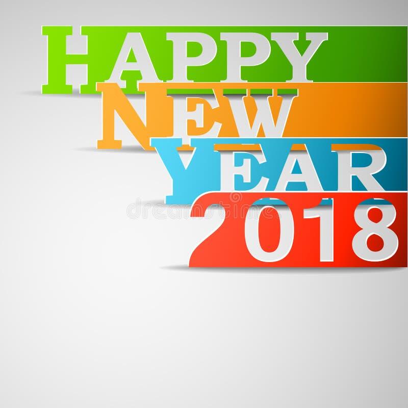 Ilustração de papel do vetor do ano novo feliz 2018 ilustração royalty free
