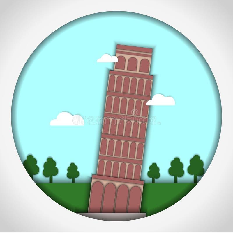Ilustração de papel do vetor do estilo do applique Cartão com aplicação da torre inclinada de Pisa, Itália postcard ilustração royalty free