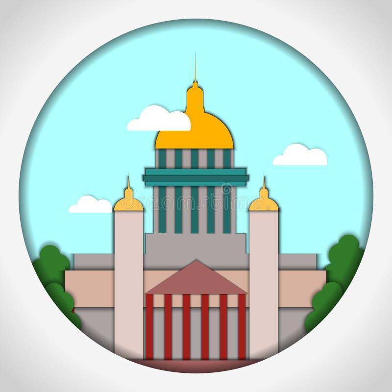 Ilustração de papel do vetor do estilo do applique Cartão com aplicação de St Isaac Cathedral, St Petersburg postcard ilustração stock