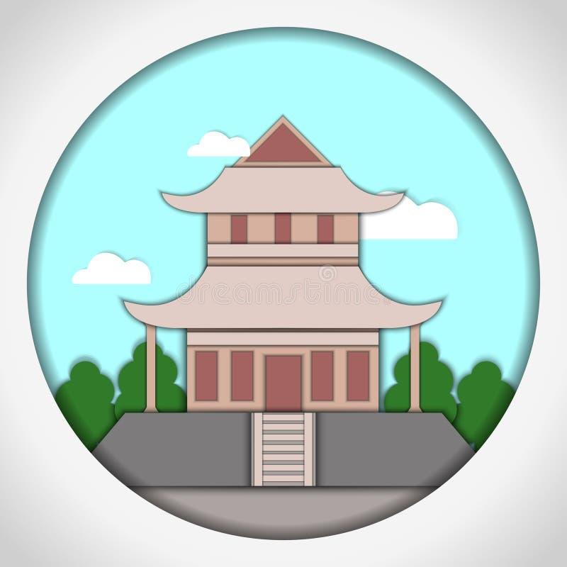 Ilustração de papel do vetor do estilo do applique Cartão com aplicação do pagode japonês postcard ilustração royalty free