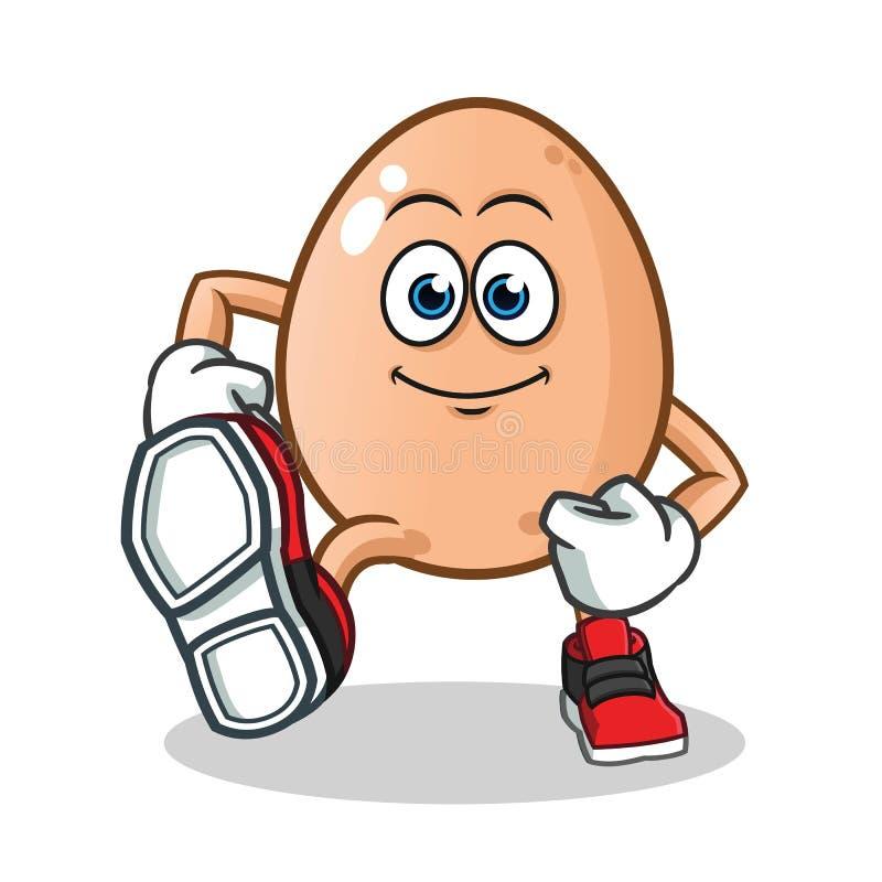 Ilustração de passeio dos desenhos animados do vetor da mascote do ovo foto de stock
