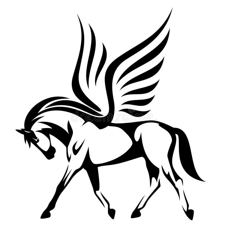 Ilustração de Pegasus - opinião lateral voada VE preto e branco do cavalo ilustração do vetor